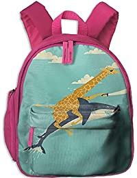 Funny Schoolbag Backpack Giraffe and Shark with A Knife Toddler Kids Pre School Bag Cute 3D