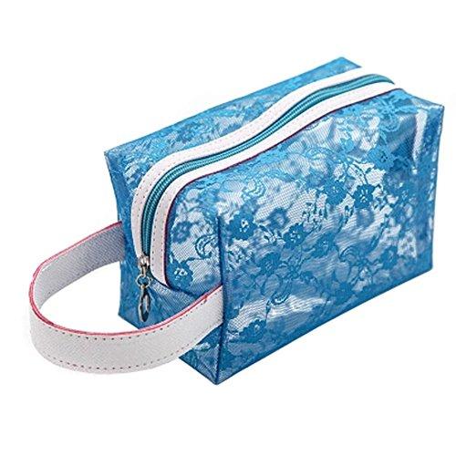 Transparent portables Pochettes de Maquillage Voyage Trousse,Bleu