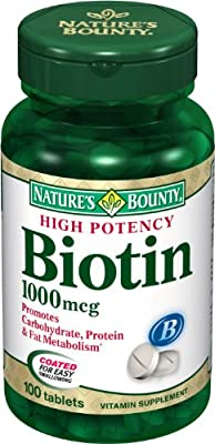 Nature's Bounty Biotin 1000Mcg, 100 Tablets (Pack Of 3) by Nature's Bounty