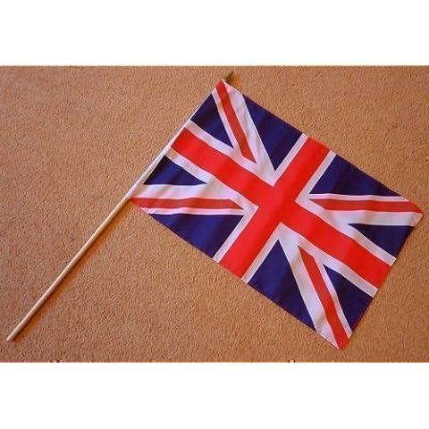 Reino Unido Union Jack Grande Bandera De La Mano - Mangas Bandera Del Poliester on 0,6 m Palo de