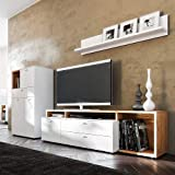 Pharao24 Design Wohnkombination in Weiß und Eiche modern