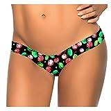 Damen G-String Forh Brasilianischer Druck Bikini Sexy Unterseiten Zapfen Strand Bikinihose Beach Shorts Low Waist Hotpants Badestrand Badeanzug Badebekleidung Bikinihose (S, Schwarz D)