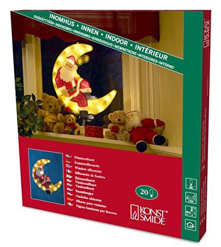 """Konstsmide 2860-000 Fensterbild """"Weihnachtsmann im Mond"""" / für Innen (IP20) /  230V Innen / 20 klare Birnen / weißes Kabel"""