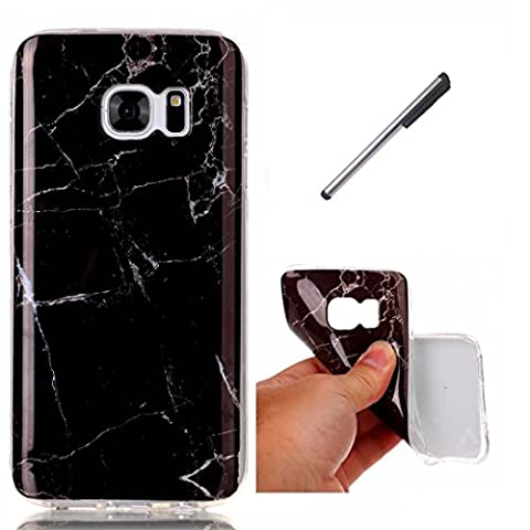 Coque Samsung Galaxy S7 marbre TPU ultra-mince transparente silicone souple Coquille.DECHYI - noir+ Stylus capacitif