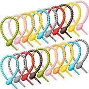 Cable Straps 20 Pieces Colorful Silicone Ties Bag Clip,Cable Straps, Bread Tie, Reusable Rubber Twist Tie, All