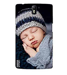 Omnam Very Cute Little Boy In Woolen Dress Sleeping Designer Back Cover Case For One Plus One