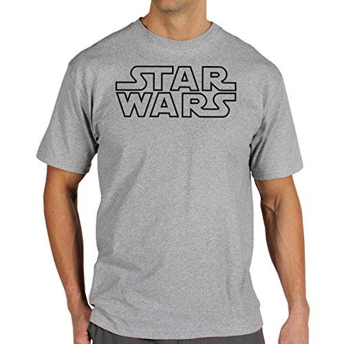 Star Wars Logo Black Outlines Herren T-Shirt Grau