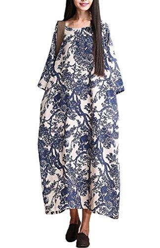 Vogstyle Damen Blumendrucken Robe Kleid Art 1 Blue L