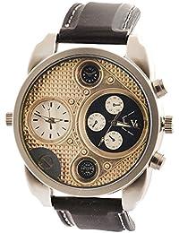 SHVAS --- OverSized Mens Dual Time Zone Watch Military Army Sport Quartz Wrist Watch -- Gold Finish Dial (black)