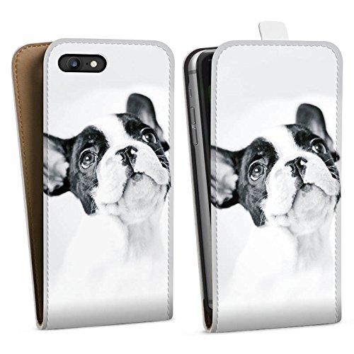 Apple iPhone SE Silikon Hülle Case Schutzhülle Hund Bulldogge Dog Downflip Tasche weiß