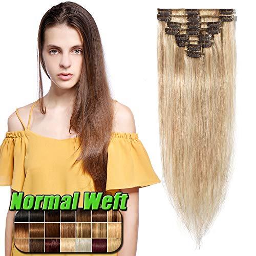 Clip in Extensions Echthaar günstig Haarverlängerung 8 Tressen 18 Clips Remy Human Hair 50cm-70g(#18/613 Hellgoldblond/Hell-Lichtblond)