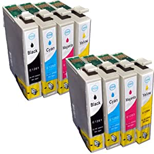 Compatible Epson Stylus SX130 Ink Cartridges 2X Black 2X Cyan 2X Magenta 2X Yellow (8-Pack)