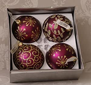 Set of three gisela graham burgundy red and gold christmas for Maroon christmas tree decorations