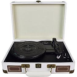 DigitNow! tocadiscos estéreo de 3 velocidades con altavoces incorporados (estéreo, 33/45/78 rpm), color blanco