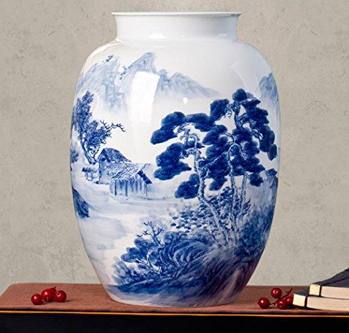 26 * 37cm / Blau Und Weiß Porzellanvase Jingdezhen Keramik Handbemalte Chinesische Vase Weiß/Blau/Chinesischen Stil