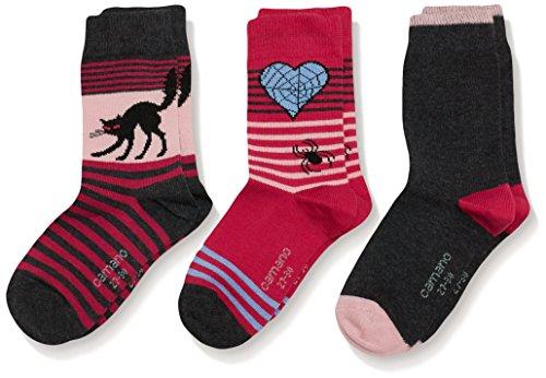 Camano Mädchen Socken Fashion, 3er Pack, Gr. 31-34, Grau (Anthracite 8)