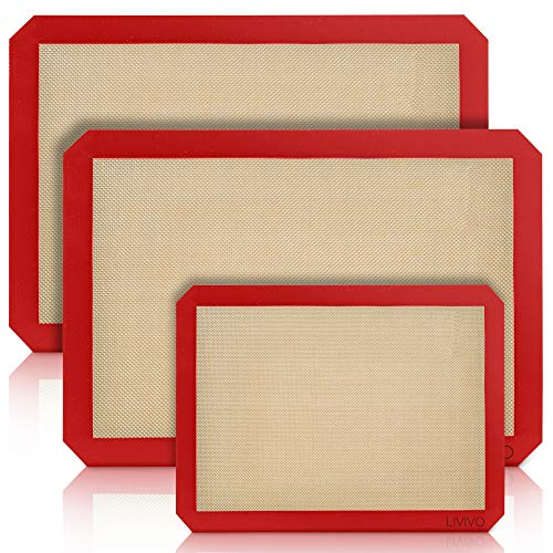 LIVIVO 3 Piece Set Baking Sheet Mat, Silicone and Glass Fibre Material, Heat Resistant to 250C for Microwave, Oven, Grill, Safe to -40C for Freezer. Cookware, Bake Ware. Alternative to Parchment or Paper