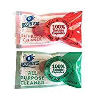 Ecosys Refill Pack of 2: Bathroom Cleaner & All-Purpose Cleaner water soluble capsule each-1Litre