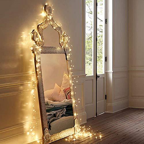 MOVEONSTEP Guirlande Lumineuse LED à Pile 100 LEDs Etanche, Décoration Intérieur et Extérieur pour Noël Mariage Soirée Maison Jardin (Blanche Chaude)