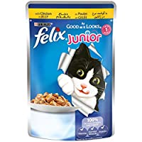 Purina Felix Junior As Good as it Looks Chicken Wet Cat Food Pouch, 100 gm
