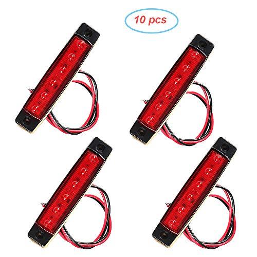 AOHEWEI 10 x LED Seitenmarkierungsleuchten 12VLkw Rot Markierungsleuchte Pkw Hinten Vorne Positionsleuchte Kontrollleuchten Lampe Begrenzungsleuchten für Anhänger Van Wohnwagen Lkw Pkw (rot, 12V)