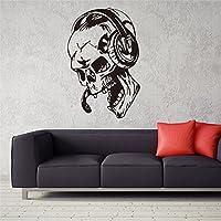 Dosige 1 Pcs Nuevo Artista Creativo Gamer Pegatinas de Pared Vinilo Cráneo Música Auriculares Decal Videojuego Decoración Del Hogar Papel de pared Negro 57*87cm