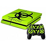 Ps4 Console Best Deals - Mod Freakz Ps4 Console And Controller Vinyl Skin Decal Green Biohazard Label