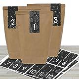 DIY Adventskalender zum Befüllen - mit 24 braunen Papiertüten und 24 schwarz-weißen Aufklebern - zum Selbermachen und Basteln - Mini Set Nr 33 - Weihnachten 2019 für Kinder