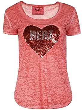 MarJo Damen Shirt mit Wende-Pailletten Rot, Rot,