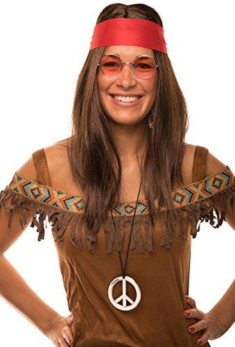 Hippie Set mit Perücke + runde Sonnenbrille + Peace Anhänger + rotes Kopfband für Damen & Herren 70er Jahre Fasching Karneval