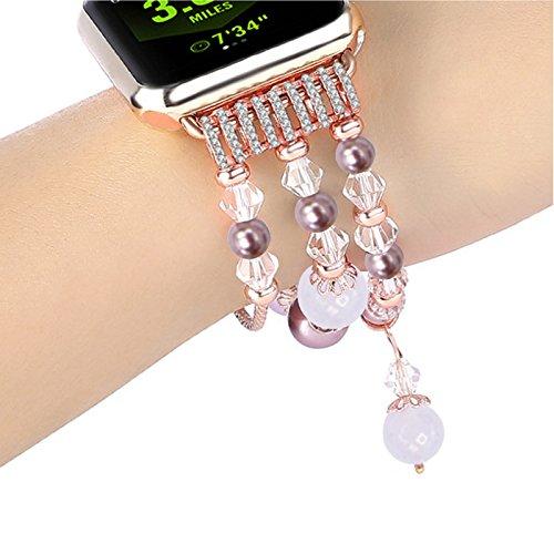 Armband für Mode Sport Perlen Armband Watch Strap Band Uhrband Ersatz für Apple Watch 1/2/3 42mm (A) (14)