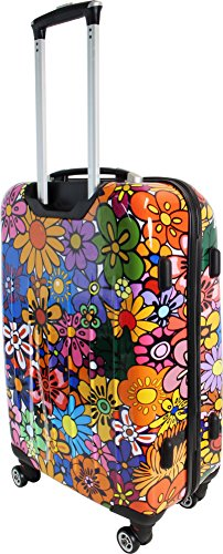 ABS Hartschalen Koffer mit Teleskopgriff und Zahlenschloss Flowers