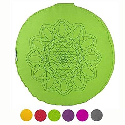 maylow Yoga mit Herz - Yogakissen Meditationskissen mit hochwertiger Stickerei Mandala Namasté mit Bio-Dinkelspelz gefüllt - Bezug waschbar - für mehr innere Ruhe, Entspannung und Gelassenheit
