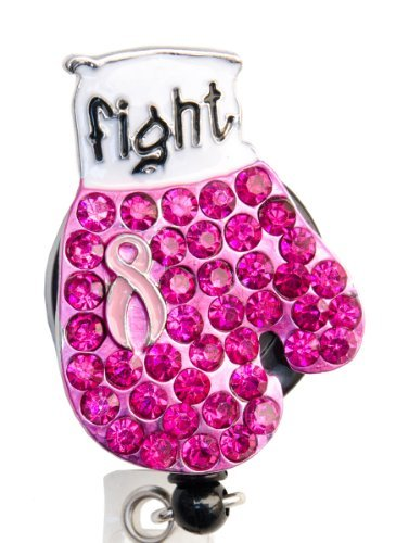 Sizzle City New Custom Bling Rhinestone Breast Cancer Awareness Pink Ribbon Boxing Glove Badge Reel Retractable ID Badge Holder || Black Backing (White Backing) by Sizzle