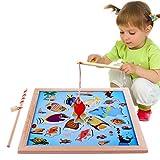 Lewo Magnetisches Holzpuzzles Angeln Spielzeug für 3 4 5 Jährige Kind Baby Kleinkind Jungen Mädchen Magnet Spielzeug mit 11 Fischen und 2 Magnetpol