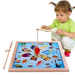 lewo magnetisches holzpuzzles angeln spielzeug f r 3 4 5 j hrige kind baby kleinkind jungen. Black Bedroom Furniture Sets. Home Design Ideas