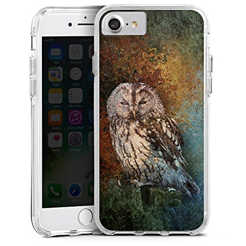 Apple iPhone X Bumper Hülle Bumper Case Glitzer Hülle Eule Wald Forest Bumper Case transparent