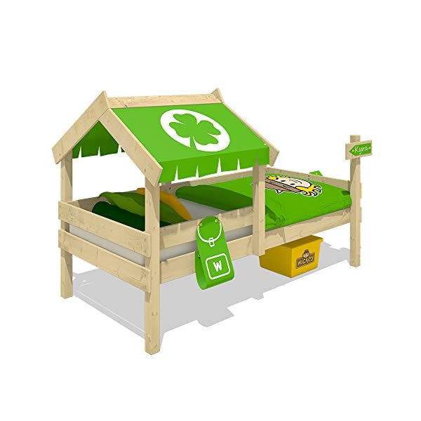 WICKEY Children's Bed Crazy Buddy Single Bed Adventure Bed with roof and slatted Bed Base, Green Wickey Nice play bed for children with roof and bird house - Quality and safety tested Solid boards 18x120mm - Solid standing beams 58x58mm - Mattress surface 200x90cm Natural and untreated wood - Solid 18mm slatted bed base - All screws included 2