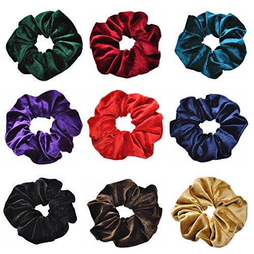 Damen Haarbänder Samt Scrunchies Bobbles elastische Haargummis Haarschmuck für Grils 9 Stück