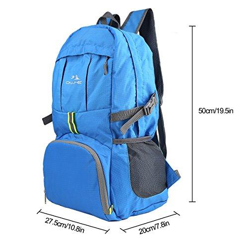 Qyuhe® 35L zusammenklappbarer ultra leichter Rucksack Outdoor Reiserucksäck Wanderrucksäcke Trekkingrucksäck Backpack Daypack für Damen und Herren Blau