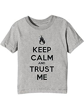 Keep Calm And Trust Me Niños Unisexo Niño Niña Camiseta Cuello Redondo Gris Manga Corta Todos Los Tamaños Kids...