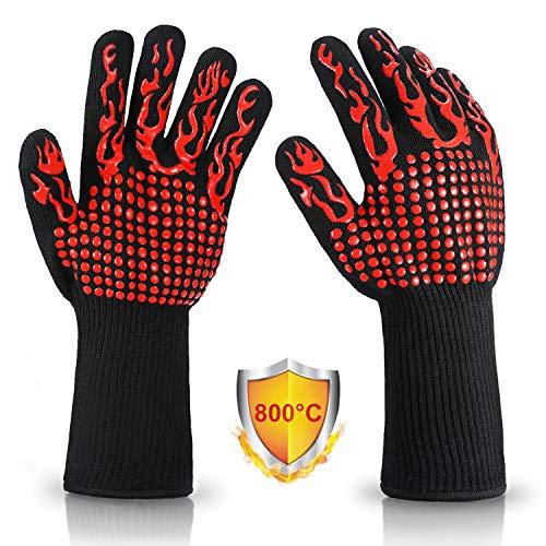 Vemingo feuerfeste Handschuhe Grillhandschuhe 800 Grad Hitzebeständig Ofenhandschuhe Kochhandschuhe Backhandschuhe für BBQ Backen, aus Silikon/Deyan-Faser/Baumwolle 33CM lang, Rot-Feuer
