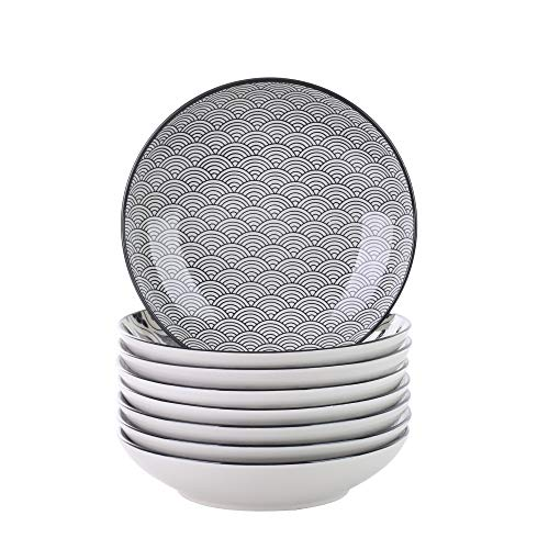 vancasso, série Haruka, 8 pcs Assiettes Creuse Porcelaine Rond 21.5 * 21.5 * 4.5cm Saladier Assiette à Soupe Nouille Style Japonais Service de Table Vaisselles 4 Motifs Noir