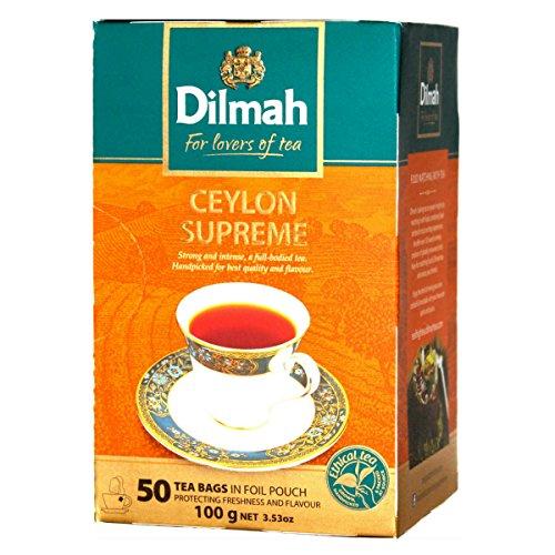Dilmah Ceylon Supreme Tea - Finest Pure Ceylon Black Tea Box Sri Lanka Dilmah Tea Bags in Foil Pouch - 50 Tea Bags 100g (3.53 oz)