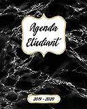 Agenda Etudiant Semainier 2019 2020: Agenda Scolaire 2019-2020 | Journalier, Calendrier, Organisateur Mensuel Et Semainier | Septembre 2019 à Août 2020 | Marbre Noire Image Couverture