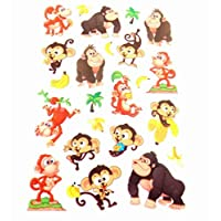 Monkey & Banana Stickers Kids / Childrens Labels for party bags , scrap books , card making or notebook decoration
