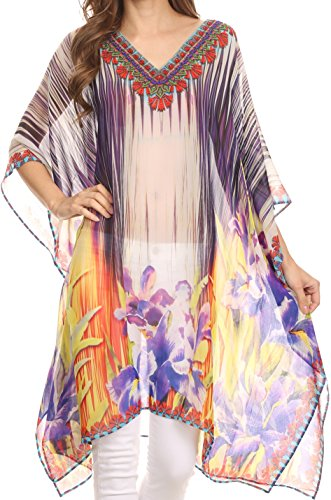 Sakkas KF5033A - Mimi Short Sheer V Neck Caftan Moroccan Printed Pattern Dress / Cover Up- Lila Gelb / Multi-OS (Sheer V-neck Tunika)