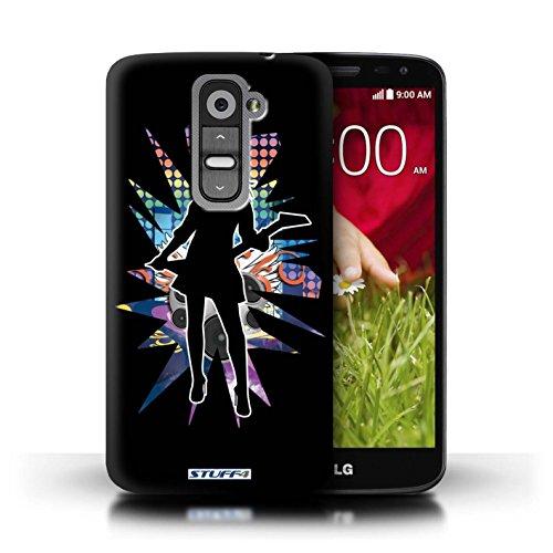 Kobalt® Imprimé Etui / Coque pour LG G2 Mini/D620 / Rock Dame Blanc conception / Série Rock Star Pose Rock Dame Noir
