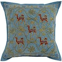 Cuscino blu Handmade singola annata di copertura 16x16 Camel ricamato federe unico cuscino di cotone tiro da Rajrang