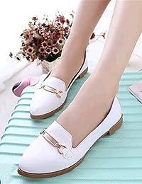 ZQ YYZ Zapatos de mujer-Tac¨®n Plano-Comfort-Planos-Exterior / Casual-Semicuero-Negro / Rojo / Blanco , red-us8...